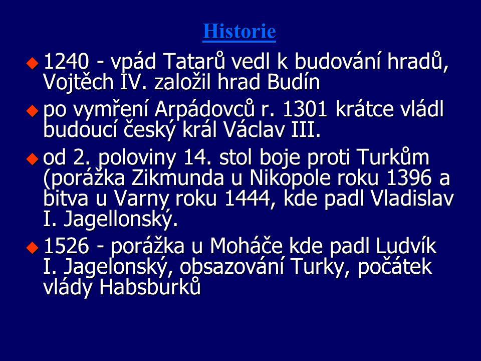 HistorieHistorie u 1240 - vpád Tatarů vedl k budování hradů, Vojtěch IV. založil hrad Budín u po vymření Arpádovců r. 1301 krátce vládl budoucí český