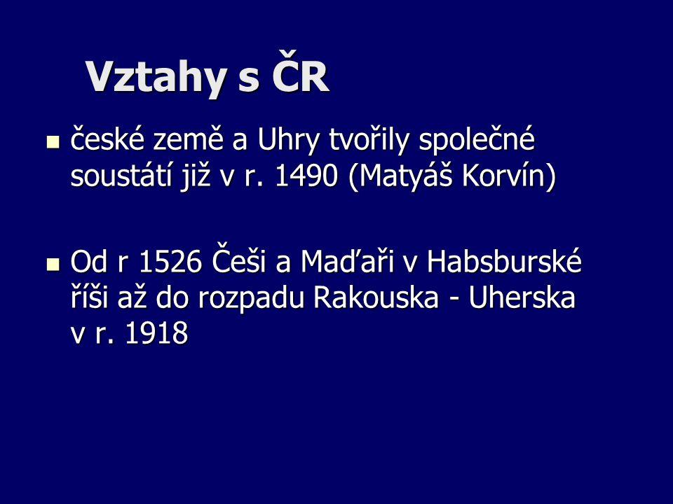 Vztahy s ČR české země a Uhry tvořily společné soustátí již v r. 1490 (Matyáš Korvín) české země a Uhry tvořily společné soustátí již v r. 1490 (Matyá
