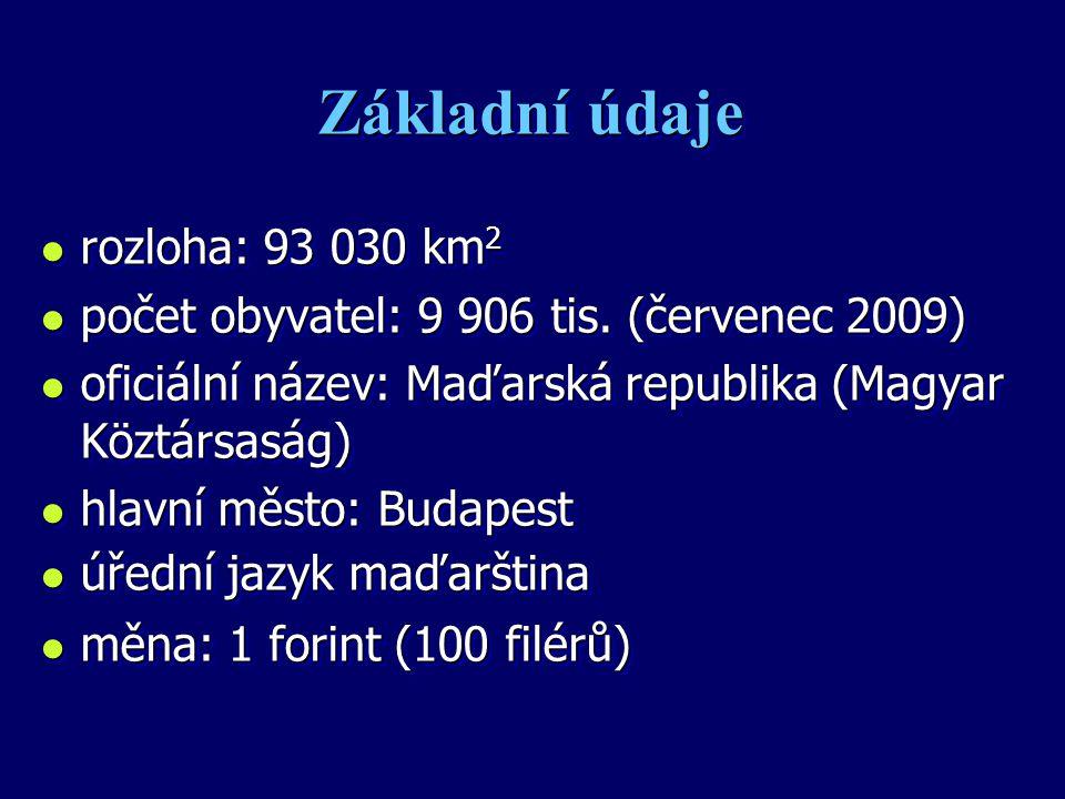 Základní údaje l rozloha: 93 030 km 2 l počet obyvatel: 9 906 tis. (červenec 2009) l oficiální název: Maďarská republika (Magyar Köztársaság) l hlavní