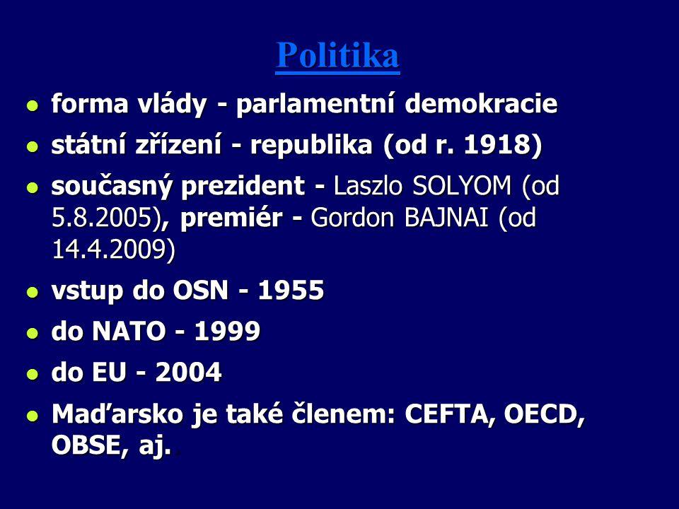 PolitikaPolitika l forma vlády - parlamentní demokracie l státní zřízení - republika (od r. 1918) l současný prezident - Laszlo SOLYOM (od 5.8.2005),