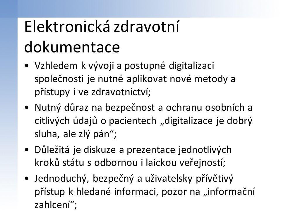 """Elektronická zdravotní dokumentace Vzhledem k vývoji a postupné digitalizaci společnosti je nutné aplikovat nové metody a přístupy i ve zdravotnictví; Nutný důraz na bezpečnost a ochranu osobních a citlivých údajů o pacientech """"digitalizace je dobrý sluha, ale zlý pán ; Důležitá je diskuze a prezentace jednotlivých kroků státu s odbornou i laickou veřejností; Jednoduchý, bezpečný a uživatelsky přívětivý přístup k hledané informaci, pozor na """"informační zahlcení ;"""
