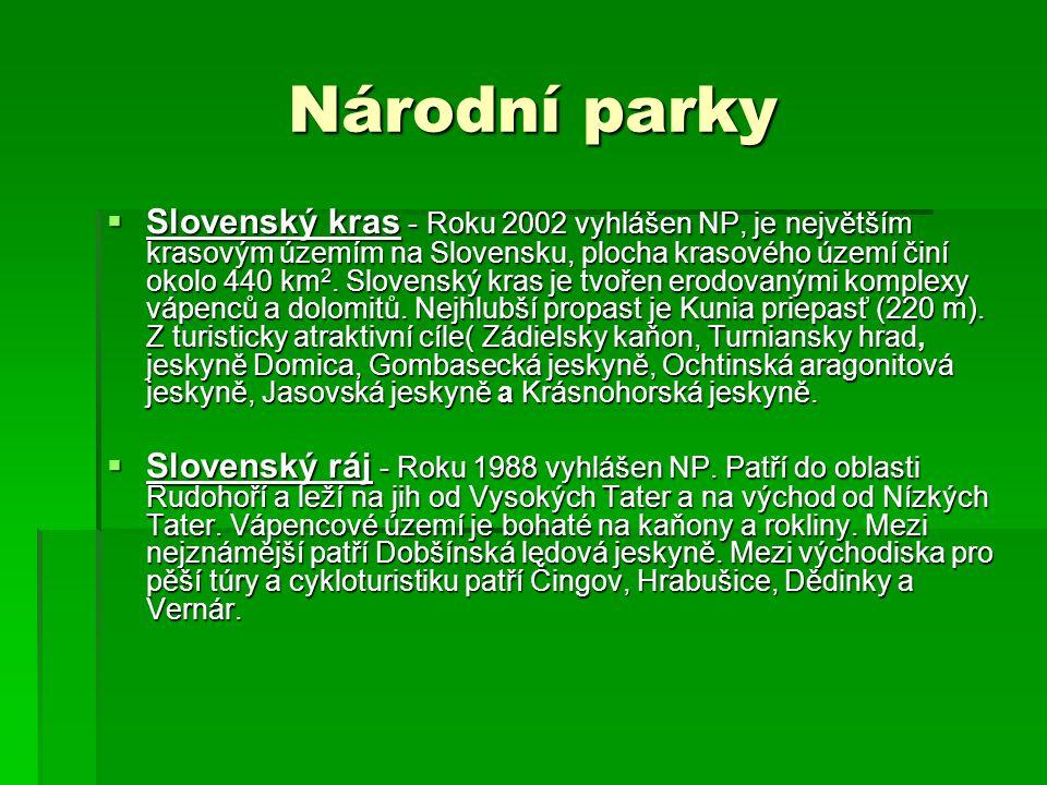 Národní parky  Slovenský kras - Roku 2002 vyhlášen NP, je největším krasovým územím na Slovensku, plocha krasového území činí okolo 440 km 2.