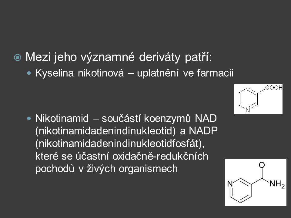  Mezi jeho významné deriváty patří: Kyselina nikotinová – uplatnění ve farmacii Nikotinamid – součástí koenzymů NAD (nikotinamidadenindinukleotid) a