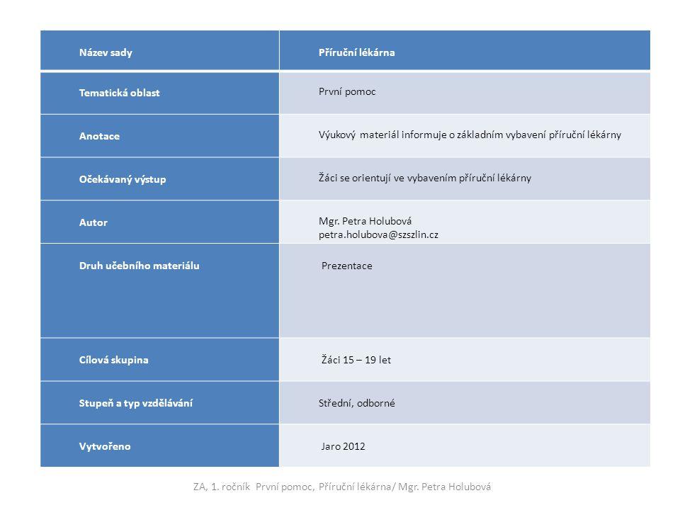 Název sady Příruční lékárna Tematická oblast První pomoc Anotace Výukový materiál informuje o základním vybavení příruční lékárny Očekávaný výstup Žáci se orientují ve vybavením příruční lékárny Autor Mgr.
