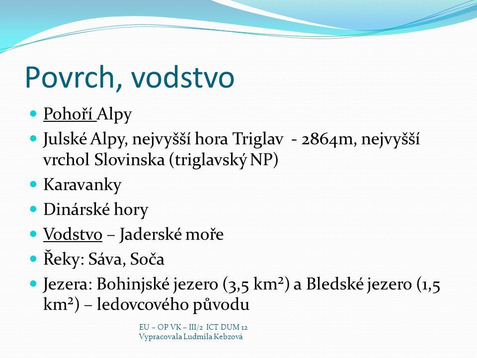 Triglav, NP Obrázek 4 Obrázek 5 EU – OP VK – III/2 ICT DUM 12 Vypracovala Ludmila Kebzová