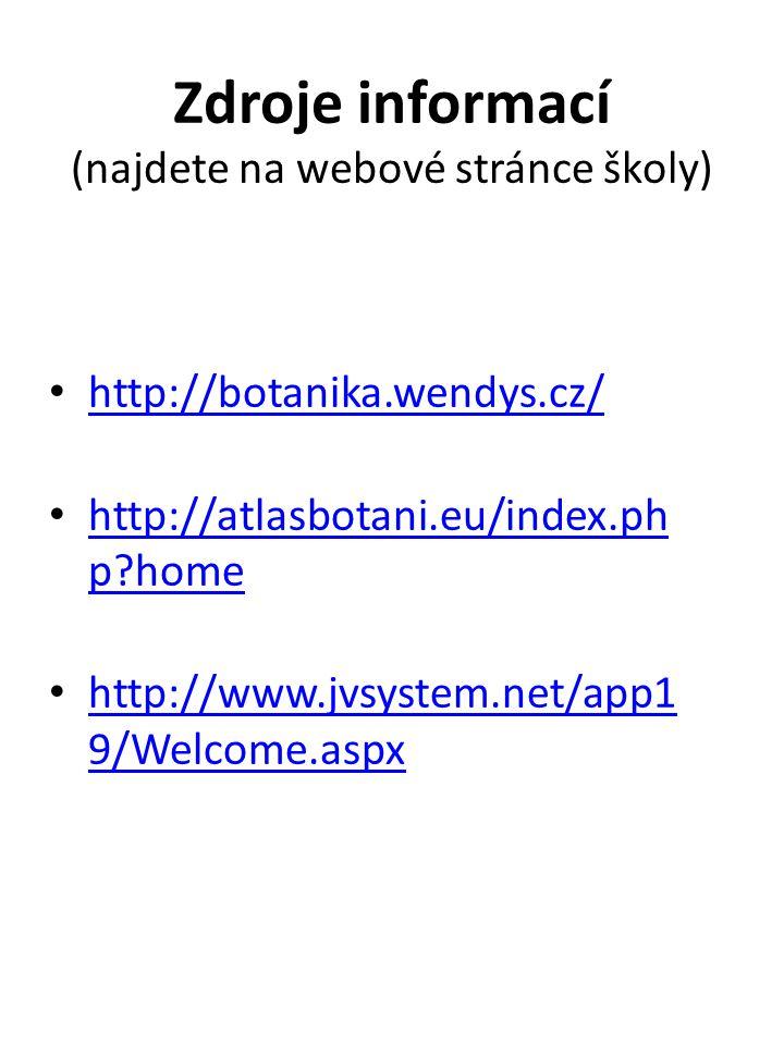 Zdroje informací (najdete na webové stránce školy) http://botanika.wendys.cz/ http://atlasbotani.eu/index.ph p?home http://atlasbotani.eu/index.ph p?h