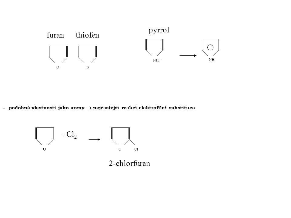 O furan S thiofen NH. NH  podobné vlastnosti jako areny  nejčastější reakcí elektrofilní substituce O O Cl + Cl 2 2-chlorfuran pyrrol