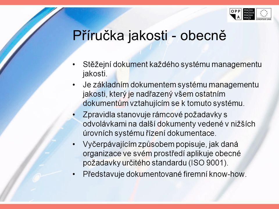 Příručka jakosti - úvod Příručka jakosti je základní dokument organizace, který souhrnně podává informaci o způsobu a procesech zajišťování systému managementu jakosti v organizaci.