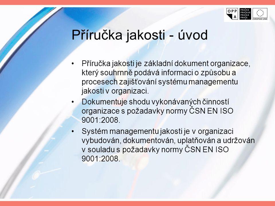 Příručka jakosti - úvod Příručka jakosti je základní dokument organizace, který souhrnně podává informaci o způsobu a procesech zajišťování systému ma