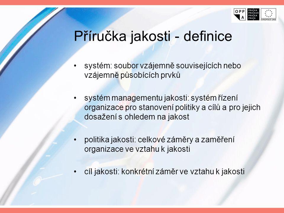 Příručka jakosti - definice systém: soubor vzájemně souvisejících nebo vzájemně působících prvků systém managementu jakosti: systém řízení organizace