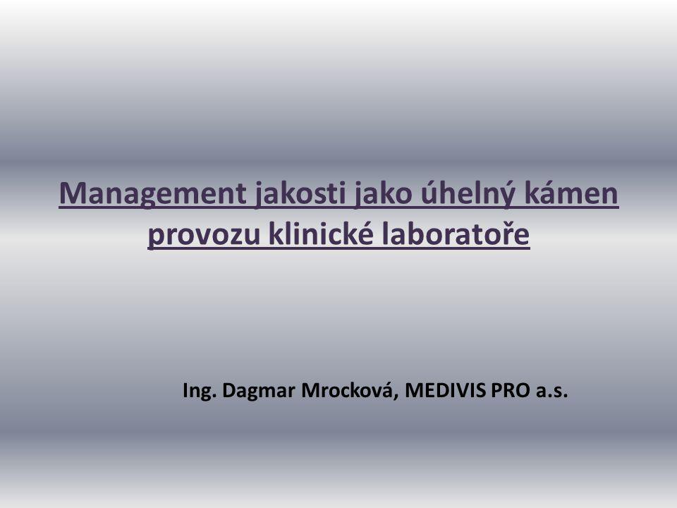Management jakosti jako úhelný kámen provozu klinické laboratoře Ing. Dagmar Mrocková, MEDIVIS PRO a.s.