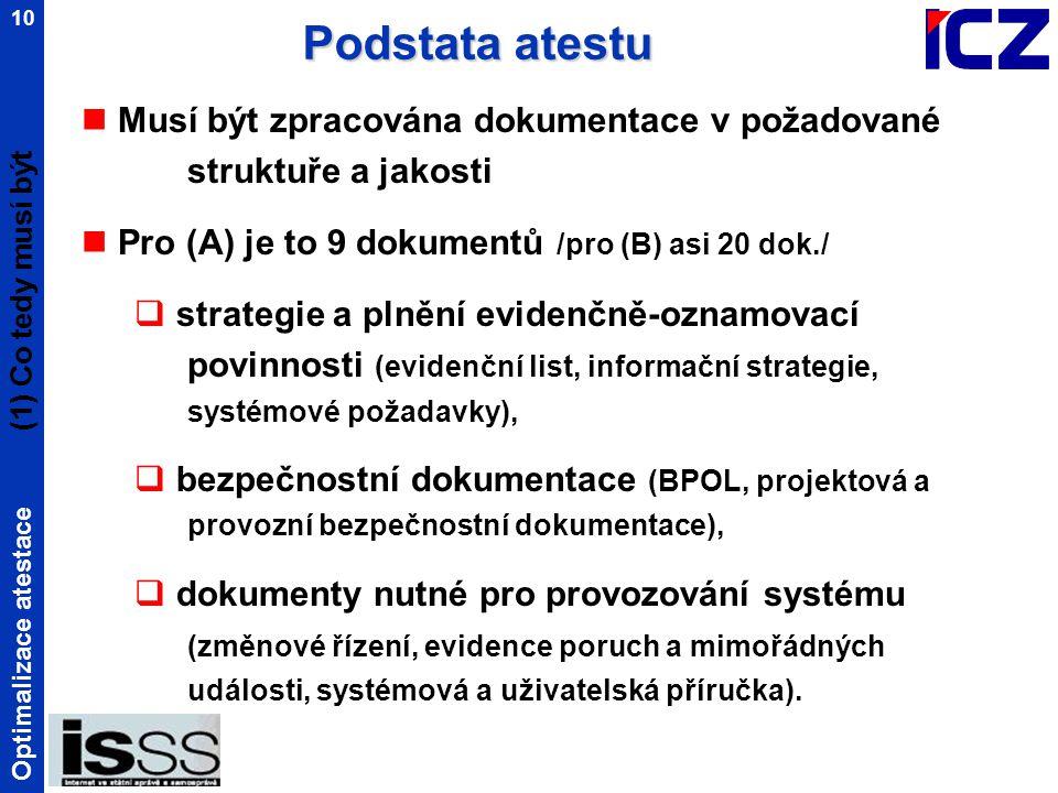 Optimalizace atestace 10 Musí být zpracována dokumentace v požadované struktuře a jakosti Pro (A) je to 9 dokumentů /pro (B) asi 20 dok./  strategie a plnění evidenčně-oznamovací povinnosti (evidenční list, informační strategie, systémové požadavky),  bezpečnostní dokumentace (BPOL, projektová a provozní bezpečnostní dokumentace),  dokumenty nutné pro provozování systému (změnové řízení, evidence poruch a mimořádných události, systémová a uživatelská příručka).