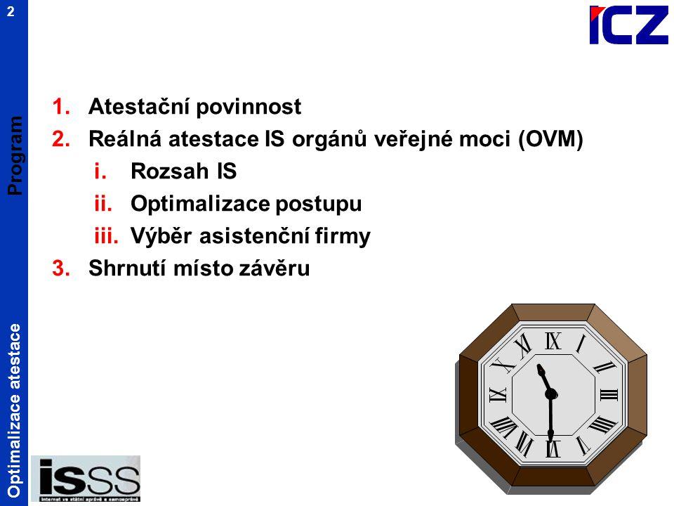 Optimalizace atestace 2 Program 1.Atestační povinnost 2.Reálná atestace IS orgánů veřejné moci (OVM) i.Rozsah IS ii.Optimalizace postupu iii.Výběr asistenční firmy 3.Shrnutí místo závěru