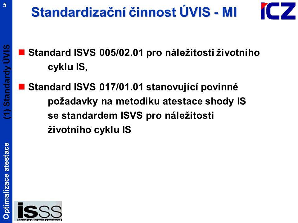 Optimalizace atestace 5 Standard ISVS 005/02.01 pro náležitosti životního cyklu IS, Standard ISVS 017/01.01 stanovující povinné požadavky na metodiku atestace shody IS se standardem ISVS pro náležitosti životního cyklu IS (1) Standardy ÚVIS Standardizační činnost ÚVIS - MI