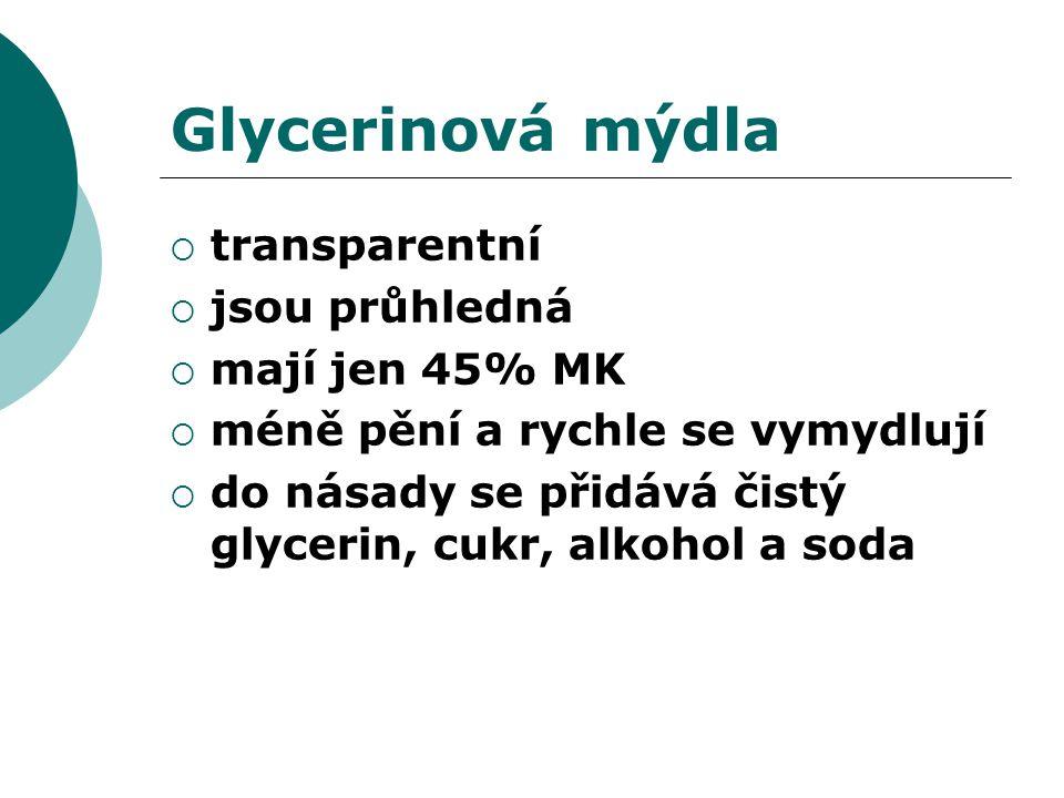 Glycerinová mýdla  transparentní  jsou průhledná  mají jen 45% MK  méně pění a rychle se vymydlují  do násady se přidává čistý glycerin, cukr, alkohol a soda