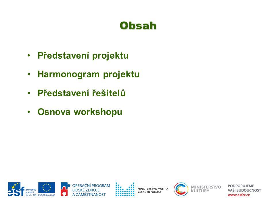 Obsah Představení projektu Harmonogram projektu Představení řešitelů Osnova workshopu