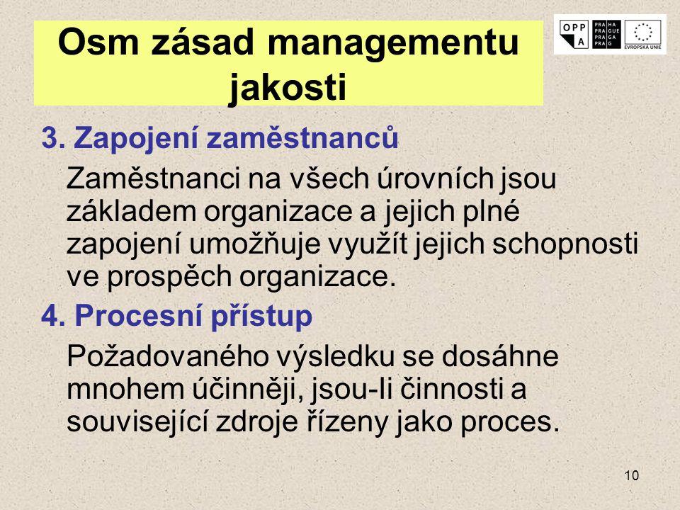 10 Osm zásad managementu jakosti 3. Zapojení zaměstnanců Zaměstnanci na všech úrovních jsou základem organizace a jejich plné zapojení umožňuje využít