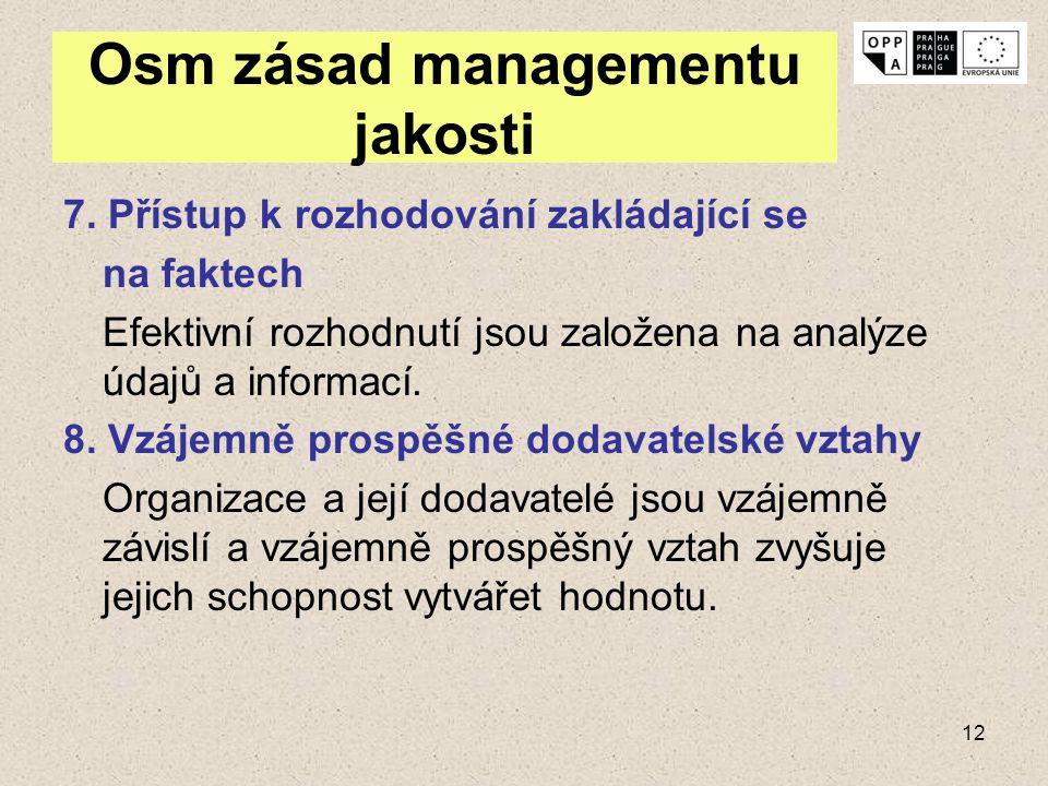 12 Osm zásad managementu jakosti 7. Přístup k rozhodování zakládající se na faktech Efektivní rozhodnutí jsou založena na analýze údajů a informací. 8