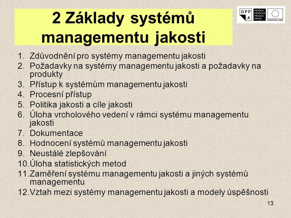 13 2 Základy systémů managementu jakosti 1.Zdůvodnění pro systémy managementu jakosti 2.Požadavky na systémy managementu jakosti a požadavky na produk