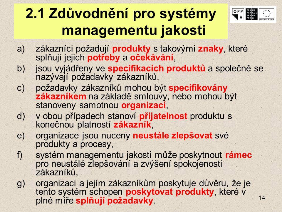 14 2.1 Zdůvodnění pro systémy managementu jakosti a)zákazníci požadují produkty s takovými znaky, které splňují jejich potřeby a očekávání, b)jsou vyj