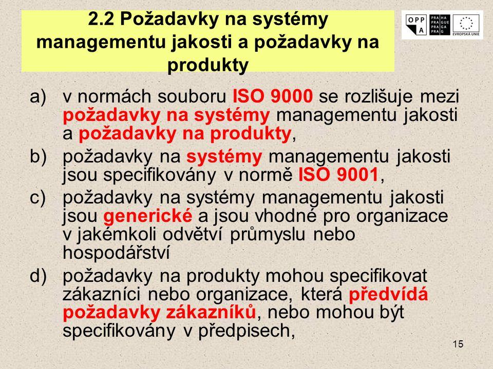 15 2.2 Požadavky na systémy managementu jakosti a požadavky na produkty a)v normách souboru ISO 9000 se rozlišuje mezi požadavky na systémy management