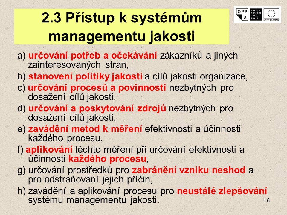 16 2.3 Přístup k systémům managementu jakosti a) určování potřeb a očekávání zákazníků a jiných zainteresovaných stran, b) stanovení politiky jakosti