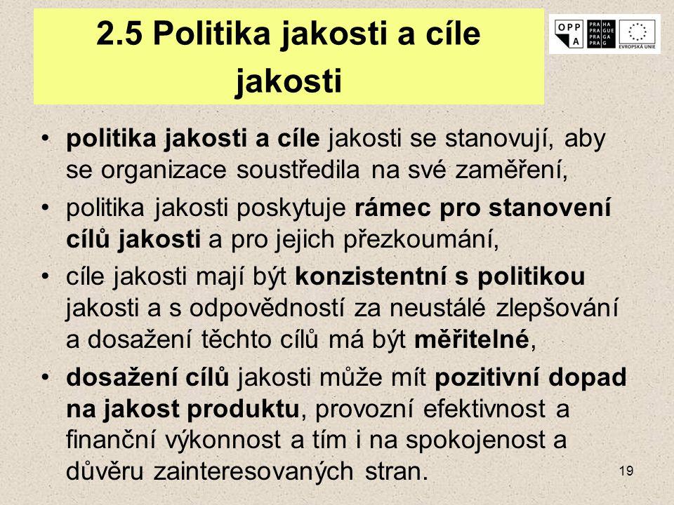 19 2.5 Politika jakosti a cíle jakosti politika jakosti a cíle jakosti se stanovují, aby se organizace soustředila na své zaměření, politika jakosti p