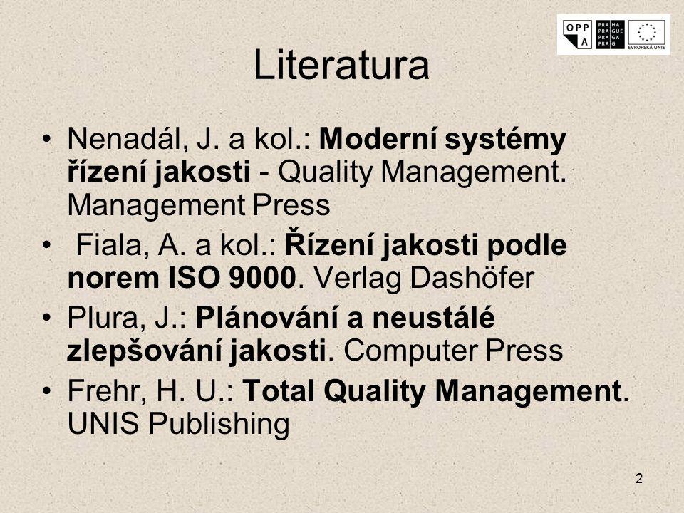 2 Literatura Nenadál, J. a kol.: Moderní systémy řízení jakosti - Quality Management. Management Press Fiala, A. a kol.: Řízení jakosti podle norem IS
