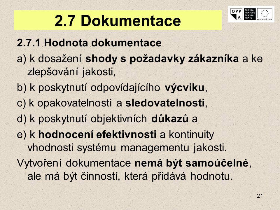 21 2.7 Dokumentace 2.7.1 Hodnota dokumentace a) k dosažení shody s požadavky zákazníka a ke zlepšování jakosti, b) k poskytnutí odpovídajícího výcviku