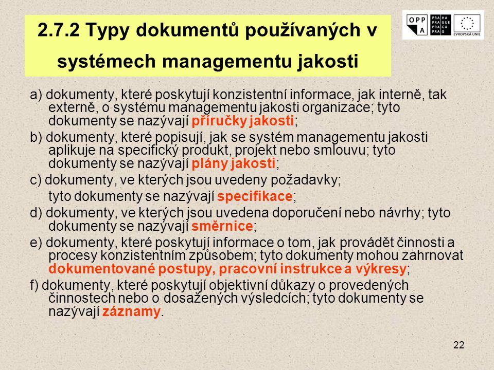 22 2.7.2 Typy dokumentů používaných v systémech managementu jakosti a) dokumenty, které poskytují konzistentní informace, jak interně, tak externě, o