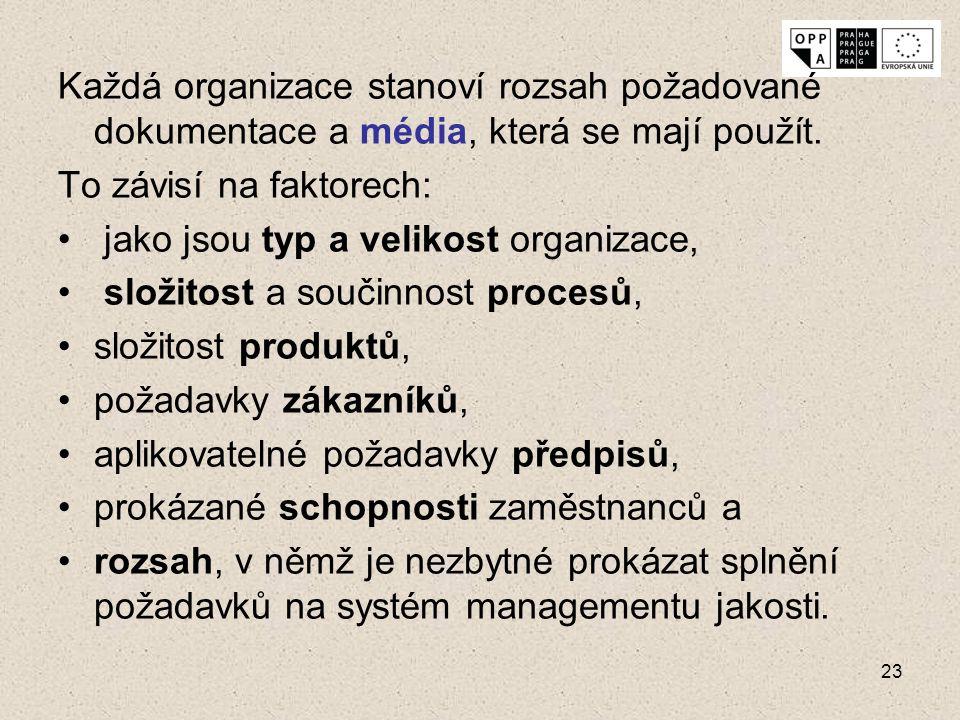 23 Každá organizace stanoví rozsah požadované dokumentace a média, která se mají použít. To závisí na faktorech: jako jsou typ a velikost organizace,