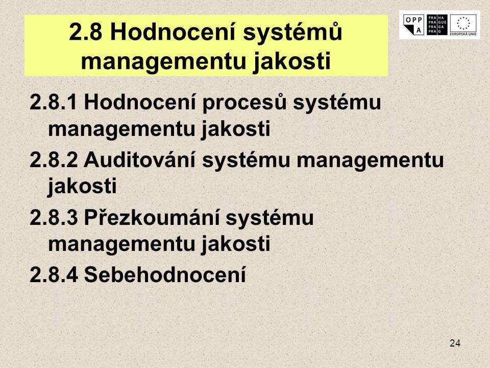 24 2.8 Hodnocení systémů managementu jakosti 2.8.1 Hodnocení procesů systému managementu jakosti 2.8.2 Auditování systému managementu jakosti 2.8.3 Př