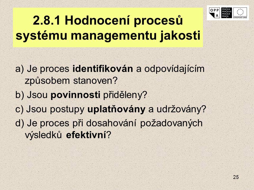 25 2.8.1 Hodnocení procesů systému managementu jakosti a) Je proces identifikován a odpovídajícím způsobem stanoven? b) Jsou povinnosti přiděleny? c)