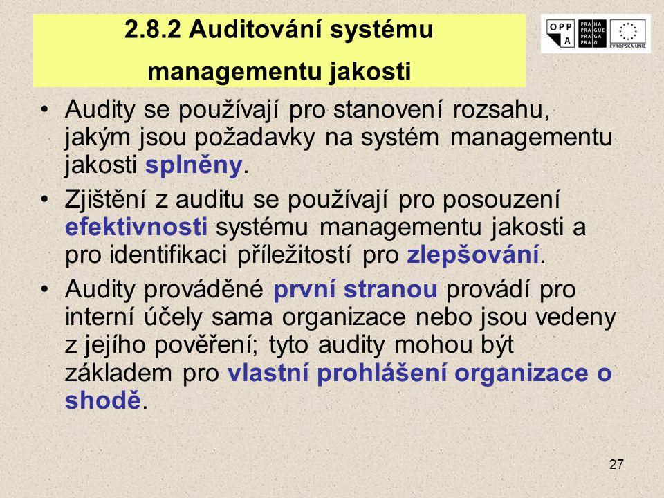 27 2.8.2 Auditování systému managementu jakosti Audity se používají pro stanovení rozsahu, jakým jsou požadavky na systém managementu jakosti splněny.
