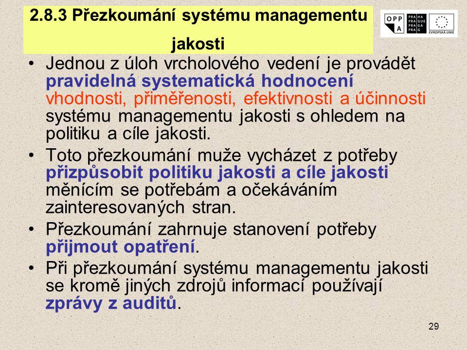 29 2.8.3 Přezkoumání systému managementu jakosti Jednou z úloh vrcholového vedení je provádět pravidelná systematická hodnocení vhodnosti, přiměřenost