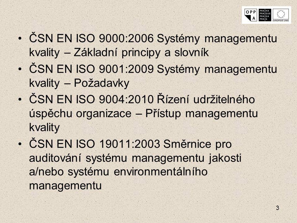 3 ČSN EN ISO 9000:2006 Systémy managementu kvality – Základní principy a slovník ČSN EN ISO 9001:2009 Systémy managementu kvality – Požadavky ČSN EN I
