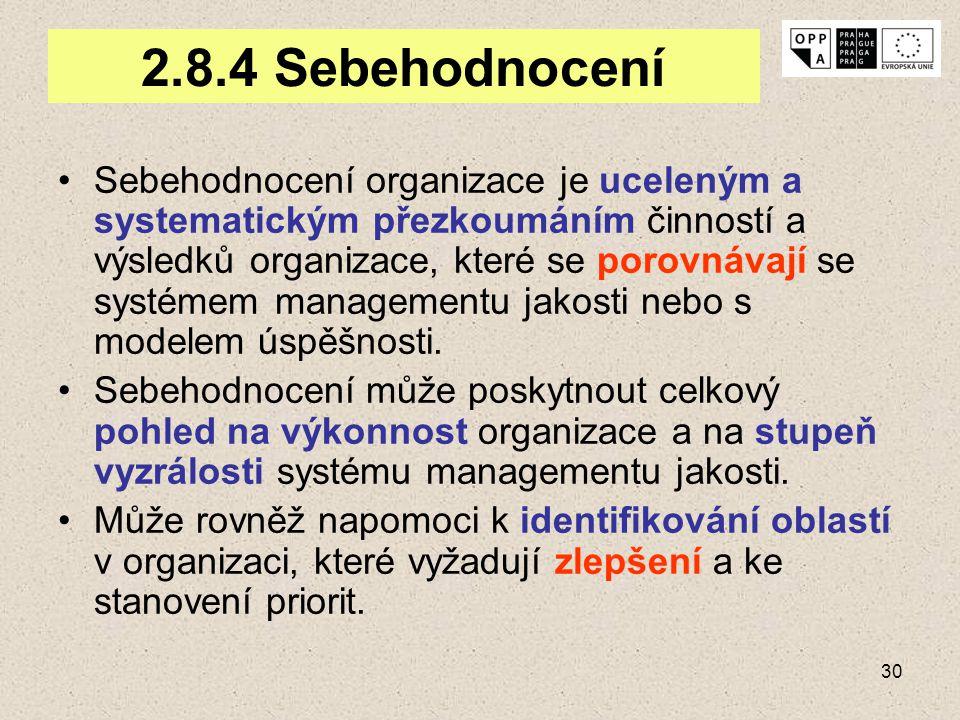 30 2.8.4 Sebehodnocení Sebehodnocení organizace je uceleným a systematickým přezkoumáním činností a výsledků organizace, které se porovnávají se systé