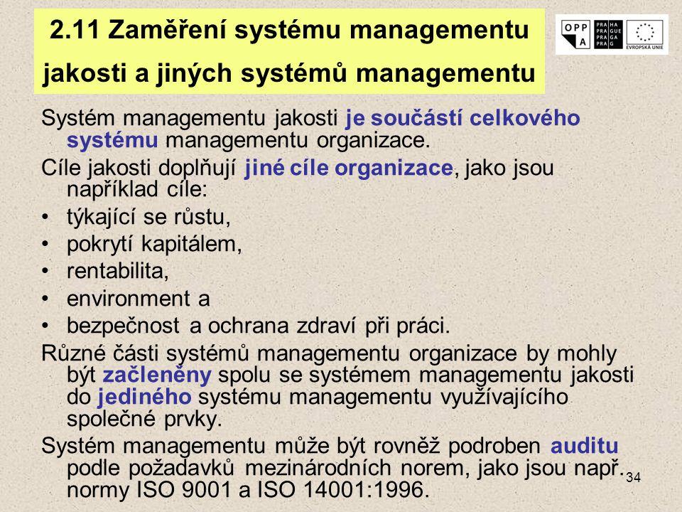 34 2.11 Zaměření systému managementu jakosti a jiných systémů managementu Systém managementu jakosti je součástí celkového systému managementu organiz
