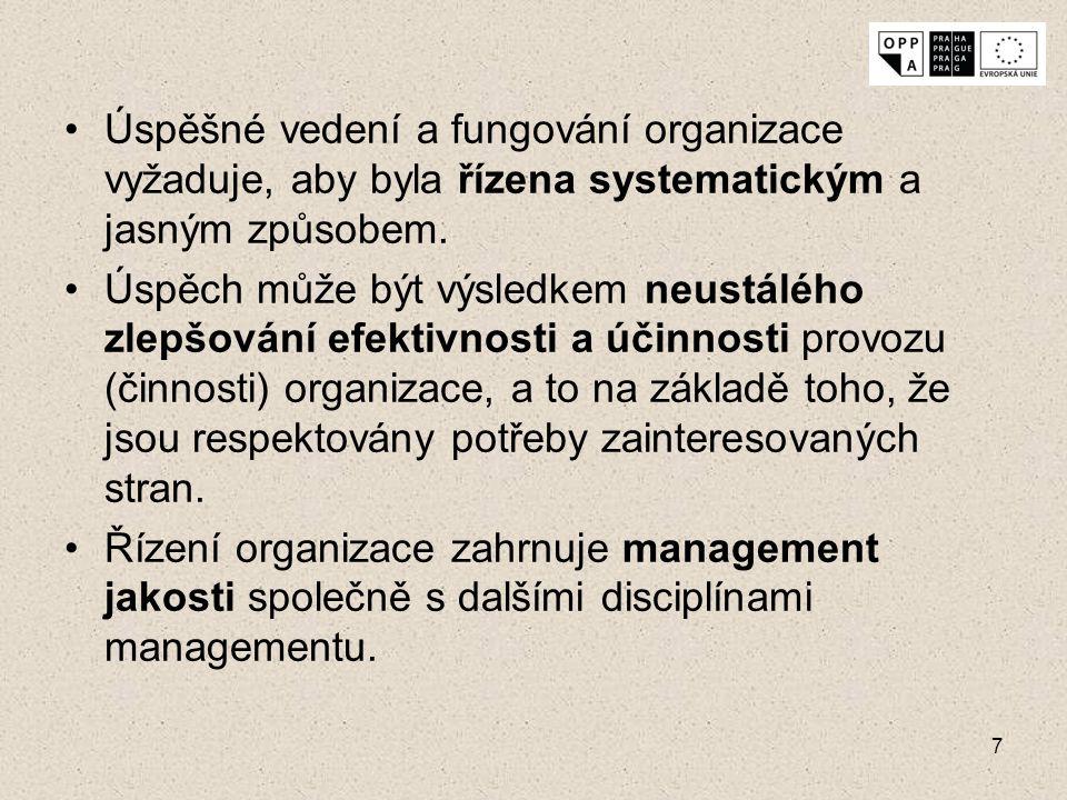 7 Úspěšné vedení a fungování organizace vyžaduje, aby byla řízena systematickým a jasným způsobem. Úspěch může být výsledkem neustálého zlepšování efe