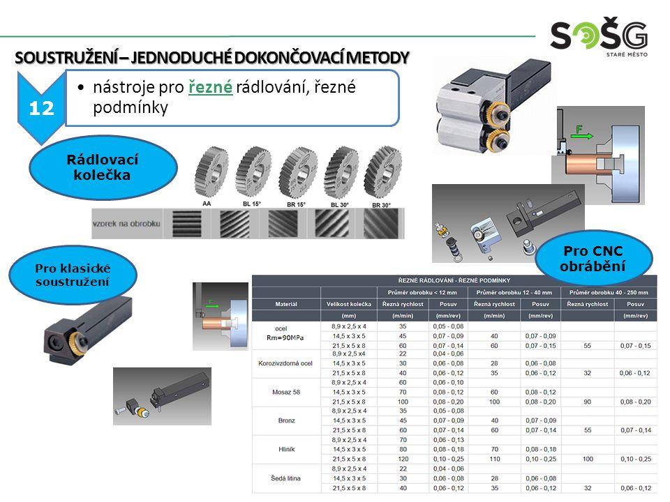 SOUSTRUŽENÍ – JEDNODUCHÉ DOKONČOVACÍ METODY 12 nástroje pro řezné rádlování, řezné podmínky Rádlovací kolečka Pro klasické soustružení Pro CNC obrábění
