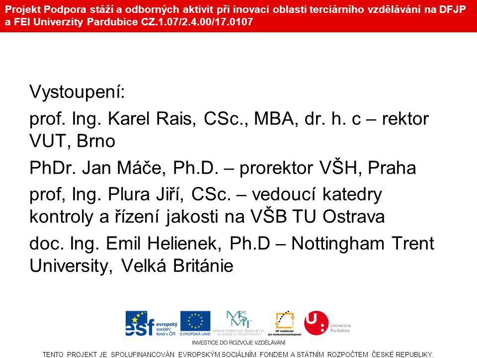 Projekt Podpora stáží a odborných aktivit při inovaci oblasti terciárního vzdělávání na DFJP a FEI Univerzity Pardubice CZ.1.07/2.4.00/17.0107 Vystoupení: prof.