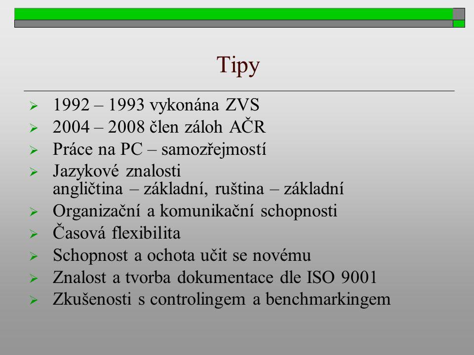 Tipy  1992 – 1993 vykonána ZVS  2004 – 2008 člen záloh AČR  Práce na PC – samozřejmostí  Jazykové znalosti angličtina – základní, ruština – základ