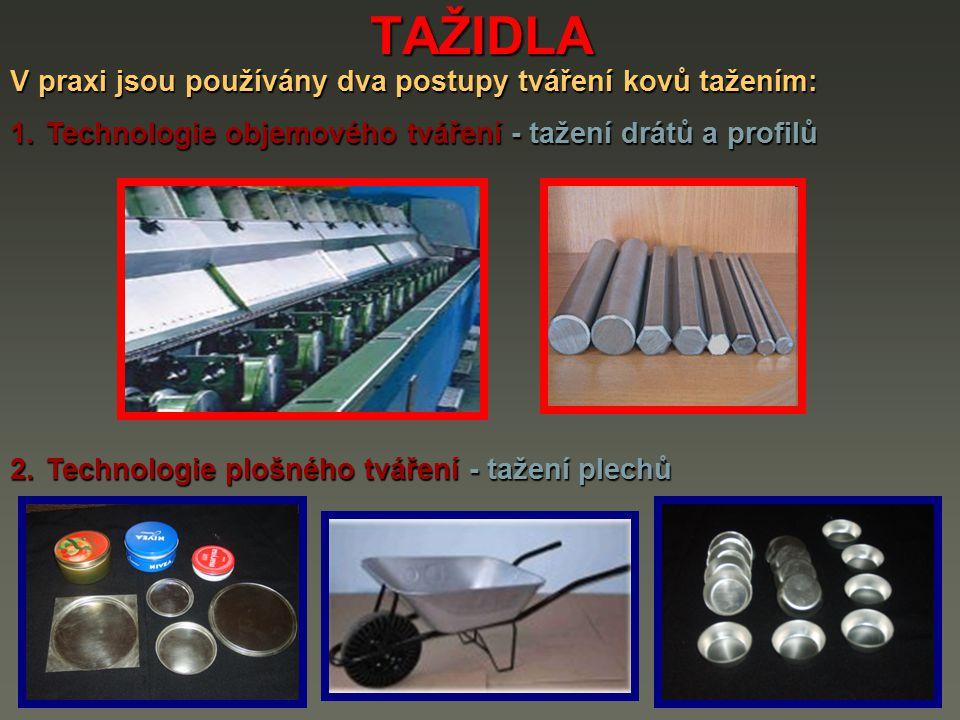 TAŽIDLA V praxi jsou používány dva postupy tváření kovů tažením: 1.Technologie objemového tváření - tažení drátů a profilů 2.Technologie plošného tvář