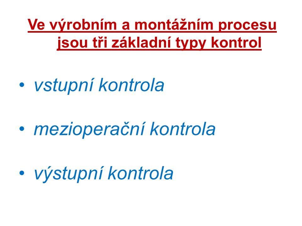 Ve výrobním a montážním procesu jsou tři základní typy kontrol vstupní kontrola mezioperační kontrola výstupní kontrola
