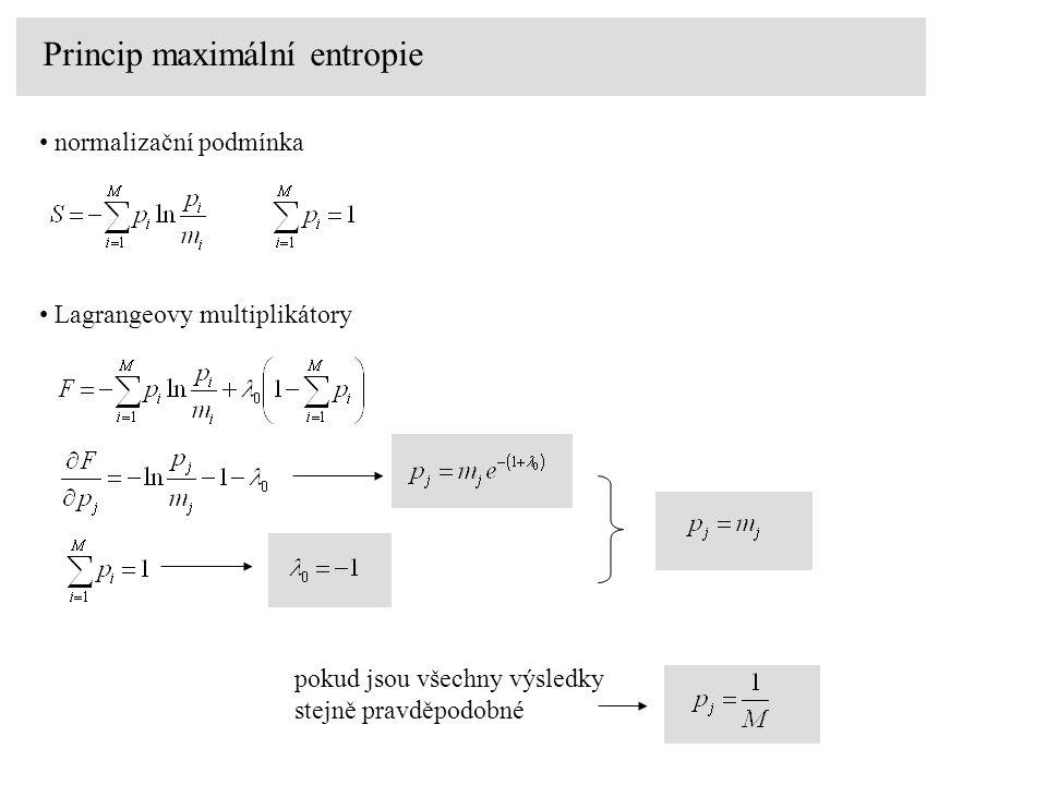 Princip maximální entropie normalizační podmínka Lagrangeovy multiplikátory pokud jsou všechny výsledky stejně pravděpodobné