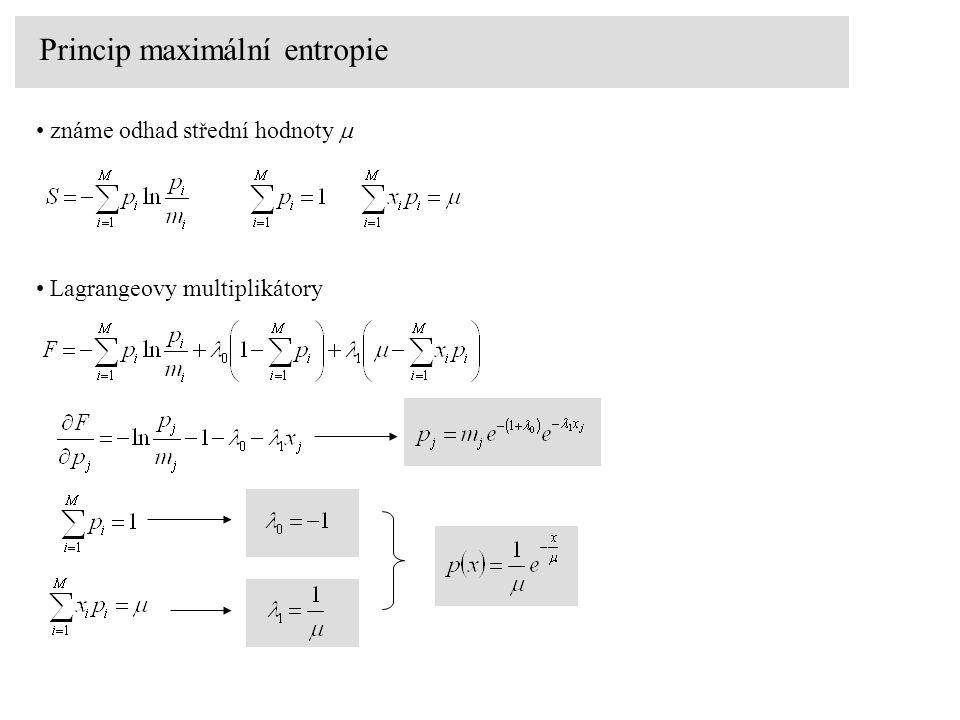 Princip maximální entropie známe odhad střední hodnoty  Lagrangeovy multiplikátory