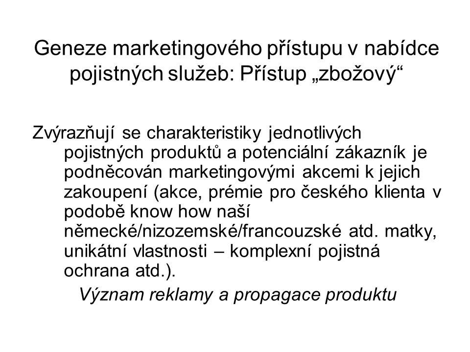 """Geneze marketingového přístupu v nabídce pojistných služeb: Přístup """"zbožový Zvýrazňují se charakteristiky jednotlivých pojistných produktů a potenciální zákazník je podněcován marketingovými akcemi k jejich zakoupení (akce, prémie pro českého klienta v podobě know how naší německé/nizozemské/francouzské atd."""