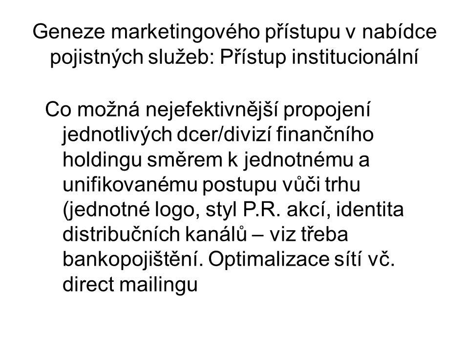Geneze marketingového přístupu v nabídce pojistných služeb: Přístup institucionální Co možná nejefektivnější propojení jednotlivých dcer/divizí finančního holdingu směrem k jednotnému a unifikovanému postupu vůči trhu (jednotné logo, styl P.R.