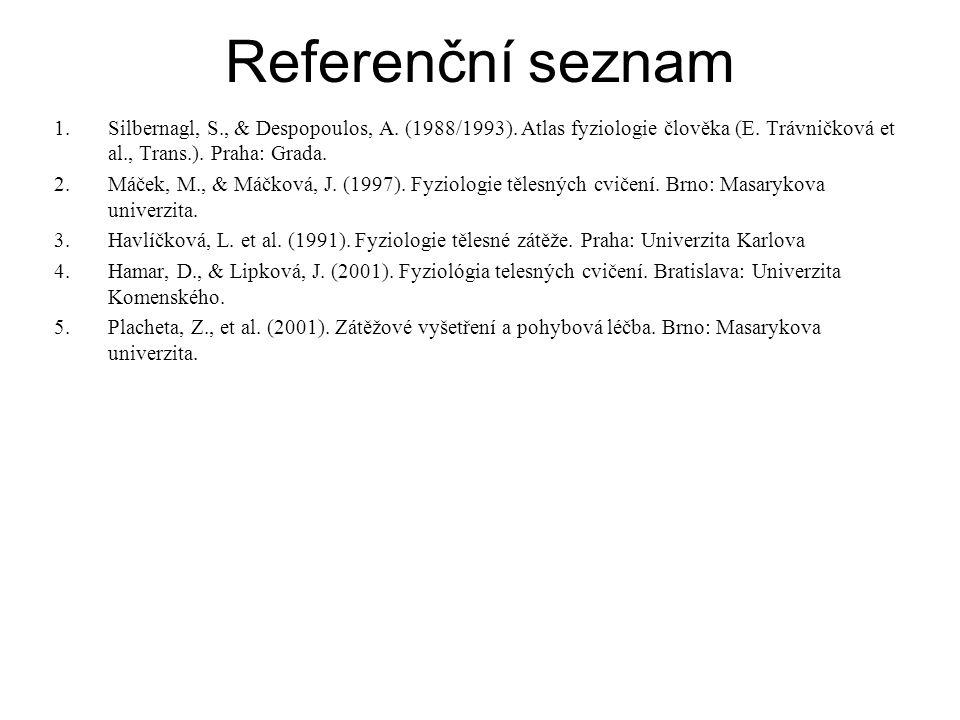 Referenční seznam 1.Silbernagl, S., & Despopoulos, A.