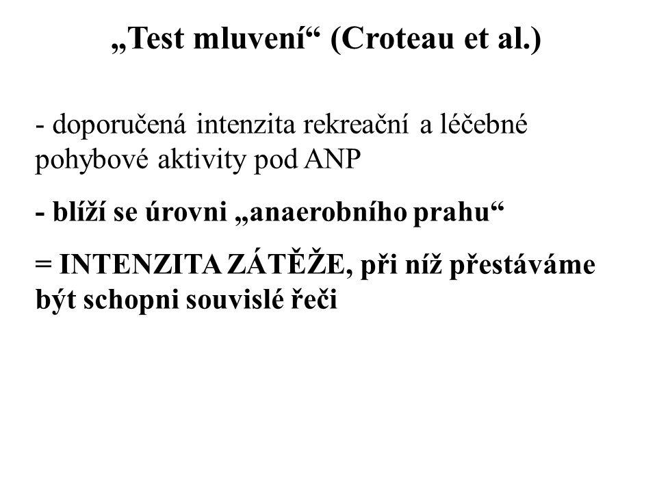 """""""Test mluvení (Croteau et al.) - doporučená intenzita rekreační a léčebné pohybové aktivity pod ANP - blíží se úrovni """"anaerobního prahu = INTENZITA ZÁTĚŽE, při níž přestáváme být schopni souvislé řeči"""